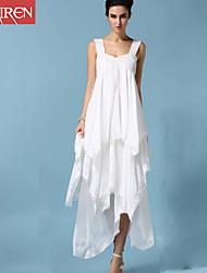 Mulheres Tamanhos Grandes / Swing Vestido,Praia Sensual / Simples Sólido Com Alças Longo Sem Manga Branco Algodão / Poliéster / Outros