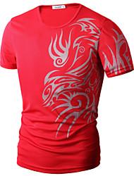 Fritid / Plusstørrelse Tryk Mænds Kortærmet T-shirt Bomuld / Polyester-Sort / Blå / Rød / Hvid / Grå
