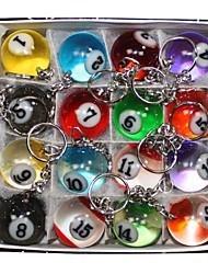 baratos -16 x bonito multicolor chaveiro bilhar simulação de metal anel chave