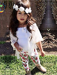 cheap -Girls' Floral Clothing Set All Seasons Long Sleeves Floral Cartoon Screen Color