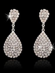 Boucles d'oreille goutte Strass Pendant Alliage Argent Bijoux Pour Mariage Soirée Occasion spéciale Fiançailles 1 paire