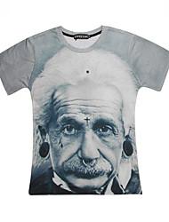 preiswerte -Strand/Informell/Bedruckt/Niedlich/Party/Business Rund - Kurzarm - MEN - T-Shirts (Baumwoll Mischung)