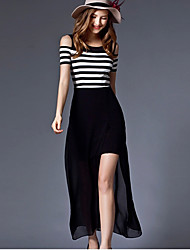 cheap -Women's Loose Sheath Skater Dress - Striped Split Maxi