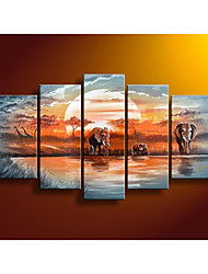 cheap -100% Hand Painted Home Decor Blue Lake Forest Elephants Landscape Oil Painting on Canvas No Frame