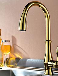 Недорогие -кухонный смеситель - Одно отверстие Ti-PVD Выдвижная / Выпадающий Настольная установка Современный Kitchen Taps / Одной ручкой одно отверстие