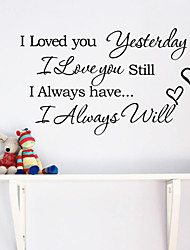 cheap -Wall Stickers Wall Decals, I Iove You English Words & Quotes PVC Wall Stickers