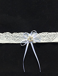 Renda Wedding Garter - Pedrarias Laço Pérolas Sintéticas