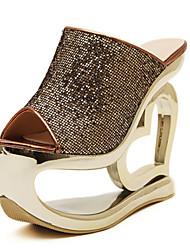 お買い得  -女性用 靴 繊維 グリッター 春 夏 プラットフォーム スパンコール スパークリンググリッター のために パーティー ドレスシューズ シルバー グレー 青銅色