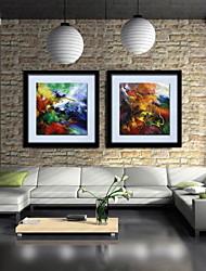 pittura a olio astratta tela dipinta a mano con cornice allungato - set di 2
