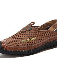 Men's Loafers & Slip-Ons Comfort Spring Fall Real Leather Breathable Mesh Athletic Casual Outdoor Split Joint Flat Heel Brown Green Blue