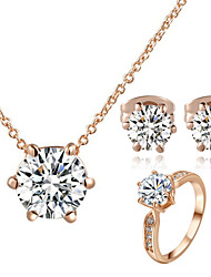 cheap -Women's Crystal Crystal Cubic Zirconia Imitation Diamond Jewelry Set Earrings Necklace - Classic Six Prongs Jewelry Set For Wedding Party