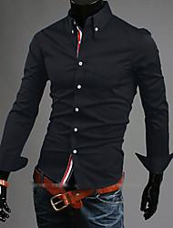 Недорогие -Мужской Однотонный Рубашка На каждый день / Для офиса / Для торжеств и мероприятий,Акрил / Смесь хлопка / Лайкра,Длинный рукав,Черный /