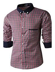 economico -MEN - Camicie casual - Informale Quadrato - Maniche lunghe Cotone organicp