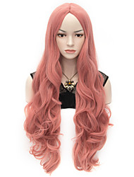 cheap -Wigs for Women Rose Pink Long Curly Costume Wigs Cosplay Wigs