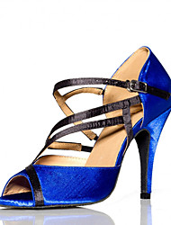 cheap -Women's Dance Shoes Salsa Flocking Stiletto Heel Blue
