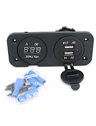 cheap -2in1 Motorcycle Phone Waterproof 2.1A/1A USB Charger Adapter+ Voltmeter Socket