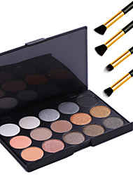 cheap -15 Colors Professional Warm Makeup Nude Eyeshadow Pearl light Shimmer Palette Cosmetic+4PCS Pencil Makeup Brush