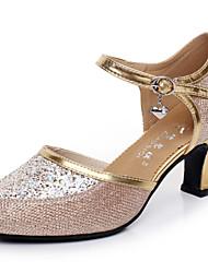 cheap -Modern Women's Dance Shoes Sandals Paillette Cuban Heel Gold/Silver