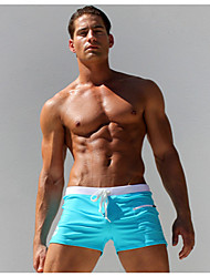 cheap Men's Swimwear-Men's Bottoms - Solid Colored Blue & White Board Shorts