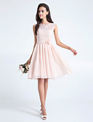 cheap -A-Line Scoop Neck Knee Length Lace Bodice Bridesmaid Dress with Lace Sash / Ribbon Flower by LAN TING BRIDE®