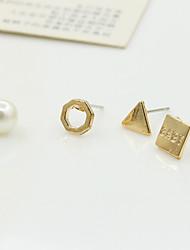 Brincos Curtos Cristal Moda Europeu Pérola Imitação de Pérola Strass Chapeado Dourado 18K ouro imitação de diamante Áustria Cristal