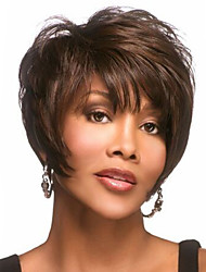 cheap -Women Synthetic Wig Short Wavy Brown Side Part Pixie Cut With Bangs Halloween Wig Carnival Wig Costume Wig