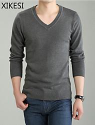 Men's Casual/Work Pure Long Sleeve Regular Pullover (Cotton/Knitwear) XKS7D03