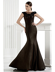 Mermaid / Trumpet Scoop Neck Floor Length Knit Formal Evening Dress with Appliques by TS Couture®