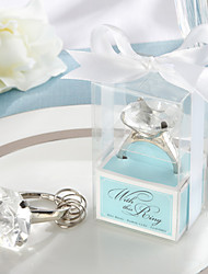 """With This Ring"" Engagement Ring Keychain in Blue Gift Box"