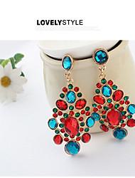 abordables -Mujer Diamante sintético Borla Pendientes colgantes - Zirconia Cúbica, Chapado en Oro, Diamante Sintético Borla, Vintage, Europeo Pantalla de color Para