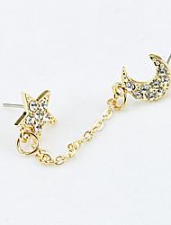 abordables -Pendientes cortos Cristal Brillante Chapado en Oro 18K de oro La imitación de diamante Moda Dorado Joyas 2 piezas