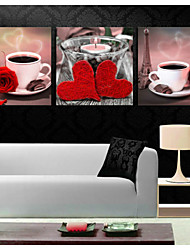 cheap -Prints Poster Coffee Cup Rose Flower Art Picture  Home Decorative  Pictures Print On Canvas  3pcs/set (Without Frame)