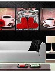 Недорогие -печатает плакат чашки кофе розы арт картину дома декоративные панно печать на холсте 3шт / набор (без рамки)