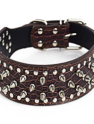 cheap -Dog Collar Adjustable / Retractable Studded Rock PU Leather Gold Silver Brown Green