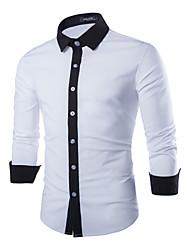 Masculino Camisa Casual / Escritório Cor Solida Manga Comprida Poliéster Preto / Azul / Branco
