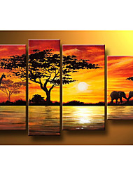 cheap -Hand-Painted Modern Abstract Elephant Giraffe Sunset African Landscape Oil Painting on Canvas  4pcs/set No Frame