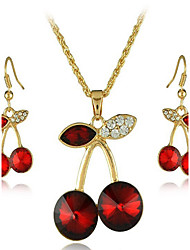 May Polly Fashion playful little cherry Crystal Necklace Earrings Set