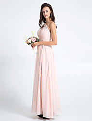 cheap -Sheath / Column One Shoulder Floor Length Chiffon Bridesmaid Dress with Criss Cross by LAN TING BRIDE®