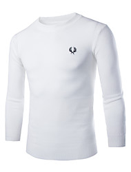billige -Herre Arbejde Langærmet Pullover - Ensfarvet