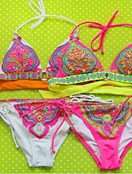 Women's Boho Anny Wireless Color Block Straped Bikinis (Polyester)