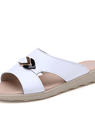 Læder-Komfort-Damer-Hvid Gul Blå-Fritid-Flad hæl