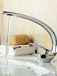 Contemporary Style Slim shape Single Handle One Hole Hot and Cold Water Bathroom Sink Faucet - Sliver