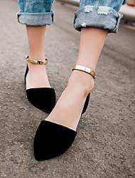 baratos -Mulheres Sapatos Courino Primavera / Verão Sem Salto Bege / Verde / Rosa claro