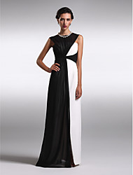 cheap -Sheath / Column Bateau Neck Floor Length Chiffon Prom Formal Evening Dress with Criss Cross by TS Couture®
