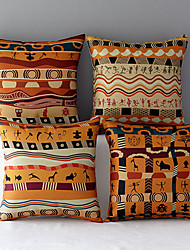 Set of 4 Folk Style Africa Pattern Cotton Throw Pillow Home Sofa Chiar Seat Backrest Cushion
