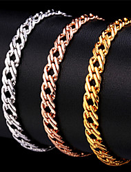 cheap -U7® Unisex Gold Venetian Chains 18K Stamp Women Men Jewelry Rose Gold/Platinum Plated Fashion Chain Bracelet
