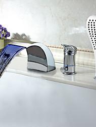 abordables -Moderne Multi-couleur LED Tubfaucet cascade généralisée avec douche à main