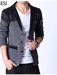 cheap -Men's Casual/Work Striped Long Sleeve Regular Cardigan (Cotton/Knitwear) XKS7D01