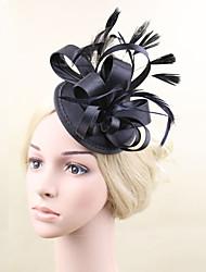 economico -fascinator di piume di raso copricapo di fiori stile femminile classico