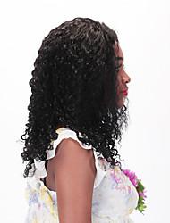 abordables -Cabello humano Encaje Frontal Peluca Rizado Peluca 130% Entradas Naturales / Peluca afroamericana / Atado 100 % a mano Mujer Corta / Media / Larga Pelucas de Cabello Natural